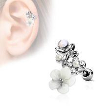 Ohrpiercing Tragus Cartilage Helix Ohrstecker Silber 3D Blume Opal Perlen Weiß