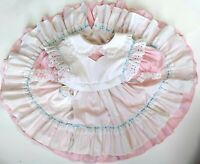 VTG BRYAN Girls Pink White Gingham dress Pocket Pinafore Ruffles Eyelet Lace 3 T