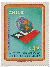 Chile 1982 #1025 Instituto Panamericano de Geografia e Historia Map and Flag MNH
