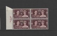 GB 1937 KGVI CORONATION-COLON FLAW IN BLOCK OF 4 (SG461a)  MNH