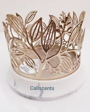 BATH BODY WORKS GOLD VINE LEAF 3 WICK CANDLE HOLDER W/ MARBLE CERAMIC BASE NEW