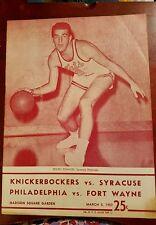 3- 5 1957 NBA Basketball Program Nationals at New York Knicks Warriors Pistons