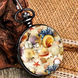 Black Color Jesus/Dinosaur Unisex Quartz Pocket Watch Pendant Chain Full Hunter