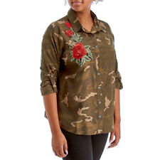 Camo Print Button Front Blouse with Rose Applique Rolled tab Sleeves Sz 1X Plus
