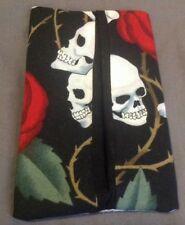 Skull And Roses Rose Thorns Cotton Fabric Travel Tissue Pouch Holder