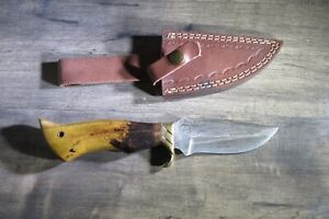 Backwoods Damascus Bowie  knife with brass guard  handle & leather sheath