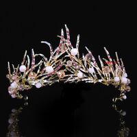 6cm High Gold Pink Leaves Crystal Adult Big Tiara Crown Wedding Prom Party