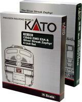 NEW Kato CB&Q EMD E5A & Streak Zephyr 6 Unit Set Silver N Scale 106-090