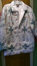 C & F Enterprises Flowered Quilted Cotton Womens Jacket Size Medium