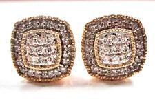 STUNNING 2/3 ctw Diamond Cluster Square Stud Earrings 10K Yellow Gold Ladies