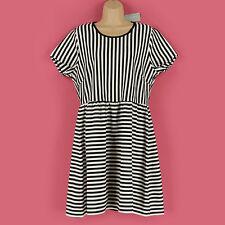 Crew Neck Skater Short Sleeve Striped Dresses for Women