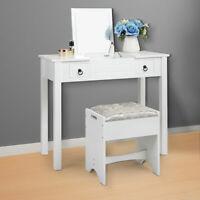 Vanity Set Makeup Dressing Table w/ Stool 2Drawer Flip Top Mirror Writing Desk