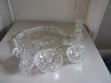 Stunning Vintage Art Deco Cut Glass Dressing Table Set Tray Candle Sticks Jars +