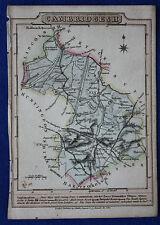 Original antique map, CAMBRIDGESHIRE, ELY, NEWMARKET, CAXTON, J. Wallis c.1810