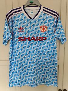 MAN UTD Football Shirt Away 1992 1993 Snowflake jersey LARGE Manchester United