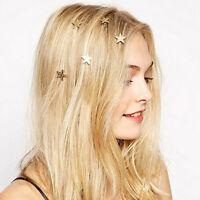 5x Fashion Women Gold Star Swirl Spiral Hair Clip Hairpin Barrettes Hair Jewelry