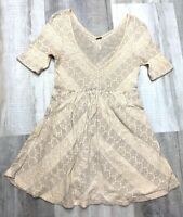 Free People Fit & Flare Dress Medium Beige V Neck Short Sleeve Crochet Boho
