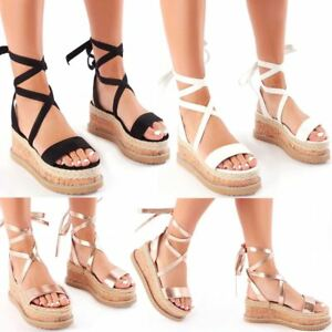 Womens Ladies Flatform Cork Espadrille Wedge Sandals Lace Up Ankle Shoes Size