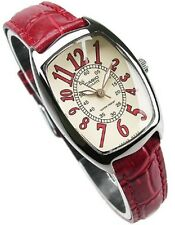 New Casio Watch Women's RED Leather Analog Quartz LTP-1208E-9B2 Water Resistant