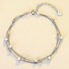 Doppelarmband Stern echt Sterling Silber 925 16-19 cm Damen Armkette Armband