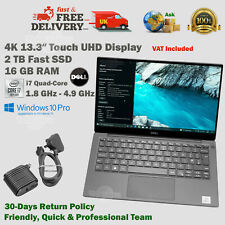 DELL XPS 13.3 4K UHD Touch Display 2TB SSD i7 Quad 1.8GHz-4.9GHz 16GB RAM Laptop