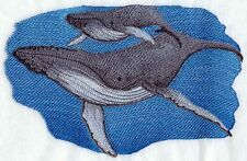 """Humpback Whales, Marine, Nautical, Embroidered Patch 00006000  9.3""""x 5.9"""""""
