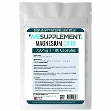 Magnesium Oxide 750mg Capsules Not Tablets Tiredness,Fatigue,PMS, Immune Support