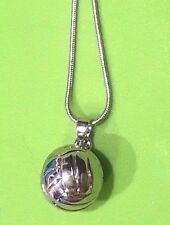 """Sterling Silver 3D Volleyball Pendant Charm Necklace 18in w 2"""" extender"""