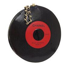 CHANEL Record Motif Chain Clutch Hand Bag 8946336 Purse Black Patent AK38481a