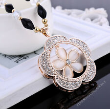 Damen Perlen AAA Zirkonia Halskette Strass Handarbeit Collier Blume Anhänger NEU