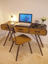 3 Drawer Vintage Metal Wood Retro Office Desk Computer Console Table