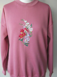 LADIES,WOMENS,LADYS,PINK EMBROIDERED SWEATSHIRT,TOPS,JUMPERS,WITH  FREESIAS