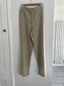 LK Bennett Linen Trousers With Sheer Panel Hemline Size 8 Tie Waist