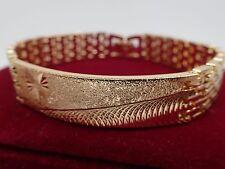 Or jaune 18 carats GF Id Identité Bar Montre Bracelet massif Femmes Hommes Brace