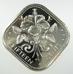 Bahamas Islands 15 Cents 1966 - 1985 Hibiscus Flower Gem Proof Square Coin