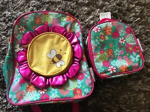 """American Girl Wellie Wishers Sunflower 14"""" School Backpack with Lunch Tote Bag"""