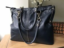 Coccinelle navy blue genuine leather medium large handbag tote bag Made in Italy