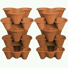 12 x Trio Pot Stacking Strawberry Herb Flower Bedding Planter Stackable Brown
