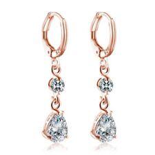 Teardrop Huggie Earrings Fashion Jewelley 18K Rose Gold Filled Cubic Zirconia