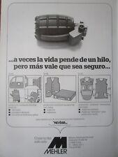 1/1986 PUB MEHLER VARIO SYSTEM FULDA GILET PARE BALLE ARMOUR ORIGINAL SPANISH AD
