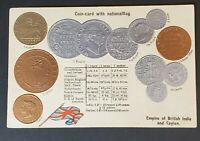 Mint British India & Ceylon Coin Card National Flag Exchange Rates Postcard
