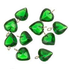 Transparent Heart Green Glass Charm Pendants 12mm Pack of 10 (A92/3)