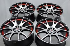4 New DDR T7 18x8 5x100/114.3 40mm Black/Polished Red Undercut Wheels Rims