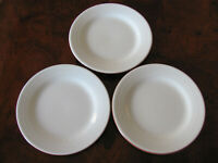 World Market -White with 3 Rings-Terra Cotta - Set of 3 Salad Plates