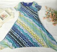 Dress size Medium Boho Stretch lace overlay Womens patterned Dana Buchman