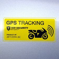 2 Motorbike SECURITY WARNING STICKER - GPS Tracker Device Motorcycle Bike YELLOW