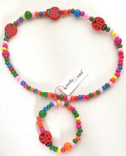 Childrens Ladybird Beaded Necklace and Bracelet Set - Party Bag Fillers Gifts