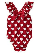 GAP Baby Girl 6-12 Months NWT Red / White Heart Ruffle One-Piece Bathing Suit