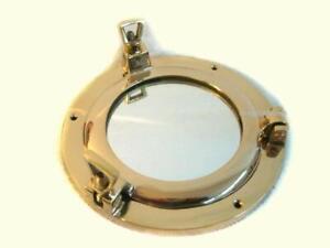 Brass - Small Porthole Mirror to Open - 14,5 CM Window