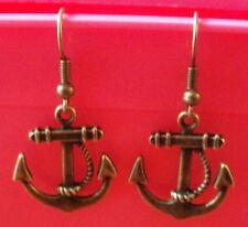 Boucles d'oreilles bronze ancre 23x20 mm